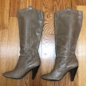 Jessica Simpson Knee High Bone Taupe Leather Boots